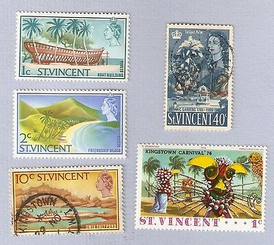 Five St Vincent stamps 1965 and 1976