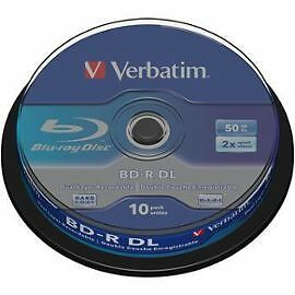 BLU RAY VIERGES DE 50 GO 50 GB VERBATIM Double Couche Pack De 10 x Bluray