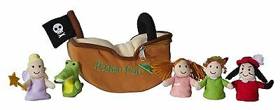 Peter Pan~Pantomime~Finger Puppet Play-Set~New With Tag~Pirate Ship~Aurora World