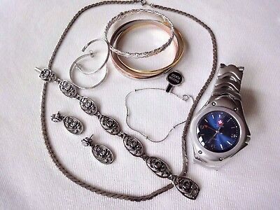 Vintage Silver Tone Bracelet And Earring Lot And 'New Swiss Army' Watch.