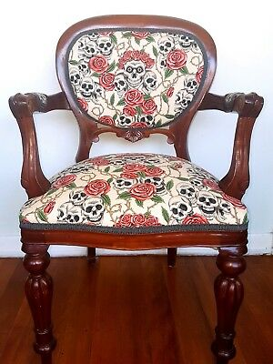 antique replica chair skulls and roses