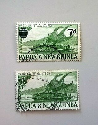 Papua New Guinea green sail boat stamps 2, one with overstamp perfect condition