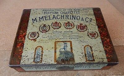 Vintage M. Melachrino & Co , Cigarettes tin 2nd  district of New York factory