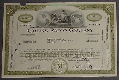 Collins Radio Company 1966 15 Shares