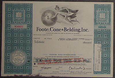 Foote, Cone & Belding, Inc. 1970 100 Shares