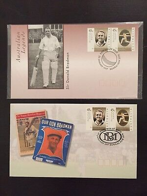 2 x 1997 Sir Donald Bradman First Day Issue Stamp Set Envelopes Cricket  MINT