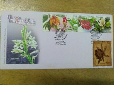 Malaysia fdc arch wood 2008 set stamps Unique Flowers