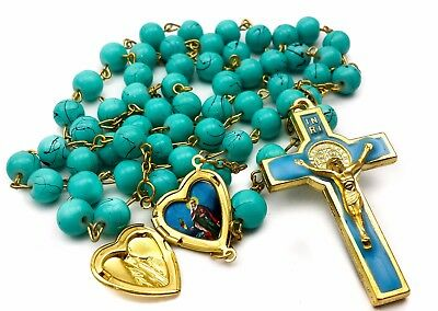 St Benedict Rosary Turquoise Glass Beads St San Benito Cross Catholic Necklace