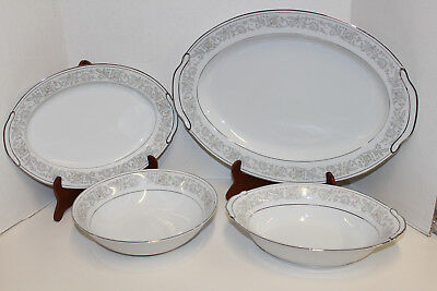 Serving Platters & Bowls By Empress China Japan Majestic 203; Gray Peach Yellow