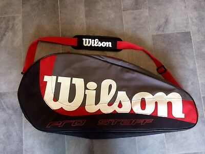 Wilson 3-pack Black/red/white/gray Racquetball/tennis Pro Staff Bag