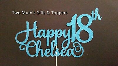 Personalised Name 18th Birthday Glitter Cake Topper - 300 GSM - 18 eighteen