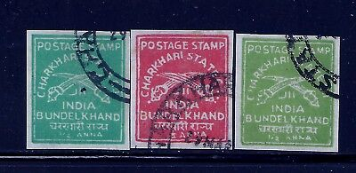 Charkhari 3 Values , Imperf Singles, Wove Paper, Kgvi, India,indian States