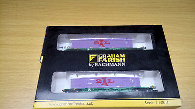 n Gauge intermodal bogie Wagon with 2 45ft containers 2XL graham farish
