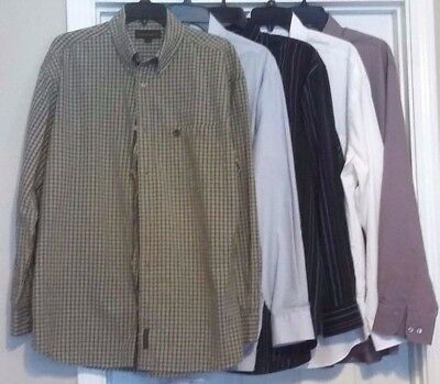 Lot of 10 Mens Long sleeve Shirts Size 17 34/35, XL, L Stripe Multiple Colors