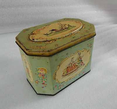 Edwardian Octagonal Huntley and Palmers musicians biscuit tin 15cm x9.5cm