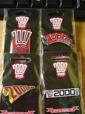 2000 AD subscribers' bonus enamel pin badges. Charity auction