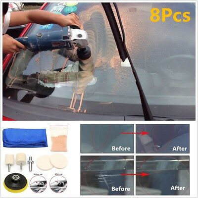 Auto Car Glass Polishing Kit Windscreen Windows Scratch Remover 8Pcs Repair Tool