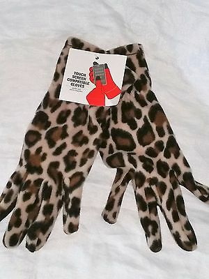 NEW Womens Leopard Print TOUCH SCREEN COMPATIBLE GLOVES One Size Fits All