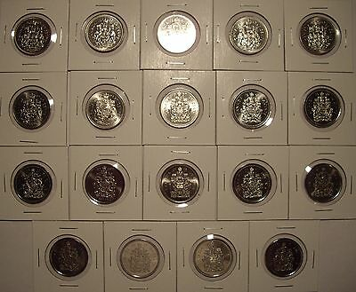 B Canada 50 Cent Coins 1969 - 2016 - Lot of 19 BU Coins