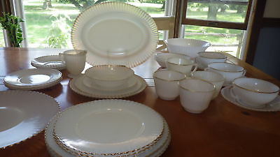 Petalware Monax Gold trim Dinnerware MacBeth Evans Depression Glass Ser 4 34pcs