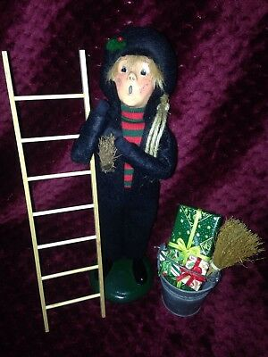 Byers Choice Retired 1991 Chimney Sweep Boy with Ladder and Bucket of Gifts READ