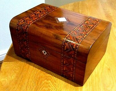 Victorian Walnut Veneer Sewing/jewellery Box,tunbridge Bands,nice Interior.