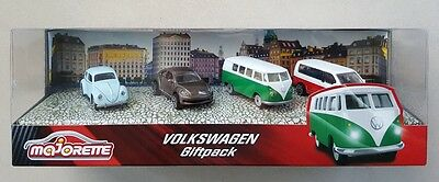 MAJORETTE Set 4 Volkswagen Giftpack VW T6 coccinelle New Beetle T1
