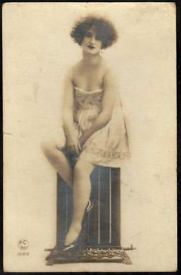 Vintage French Real Photo Postcard - Erotic Provocatively Dressed Woman - RP