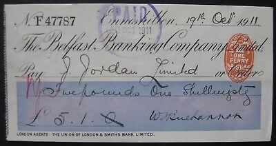 1911 Belfast Banking Co. cheque