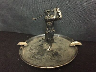 Antique Art Deco 1920's Wilcox Silverplate Golf Golfer Ashtray Vintage
