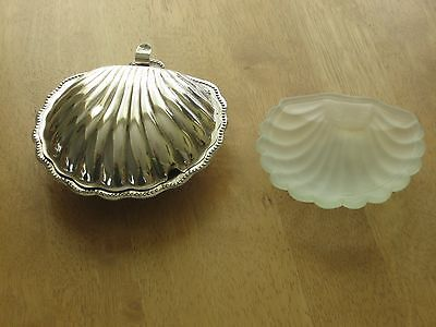 Clam shaped metal butter/mustard serving dish with opaque glass liner.