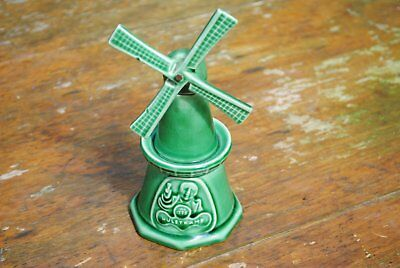 Hulstkamp Liquor Gouda Green Earthernware Pottery Windmill Bottle Decanter