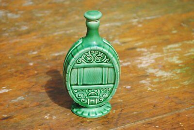 Vintage Green Pottery Flask, bottle with stopper - Gouda