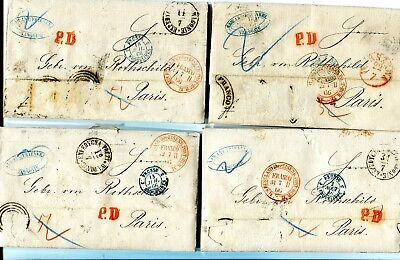 Poland 6 cv stamps removed WARSZAWA to Paris different marks, cd  1866 look