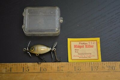 nice old phillips fly and tackle company midget minnow lure bait box paperwork