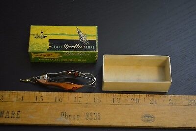 nice old globe spring loaded weedless lure minnow bait in the box