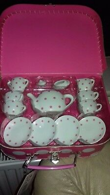 Child's China Tea Set...new..in Carry Case..china Tea Set..ideal Gift..dolls Set