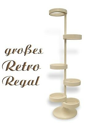 Original altes Regal mit Tellerfächer creme PVC - Regalbaum Retro Interior Möbel