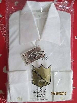 VINTAGE MENS WHITE NYLON SHIRT-THE CAVEMAN-15 COLLAR-1960/70s-NEW