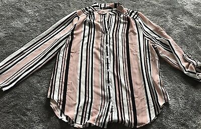 New Look Ladies Maternity Pink Black White Striped Long Blouse Top Size 16