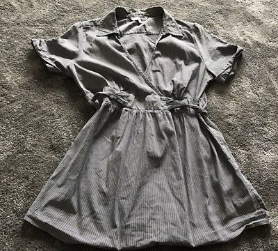 New Look Ladies Maternity Grey White Striped Wrap Blouse Top Size 16