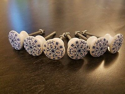 6 pc Vintage Blue & White Floral Ceramic Cabinet Hardware Door Knobs/Pulls