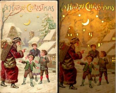 Vintage Hold to the Light HTL Postcard 1907 - Santa in Red Robes