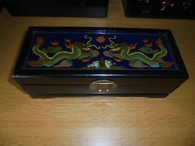 Chinese Vintage Hand Painted Box Dragon Theme Laquered Wood