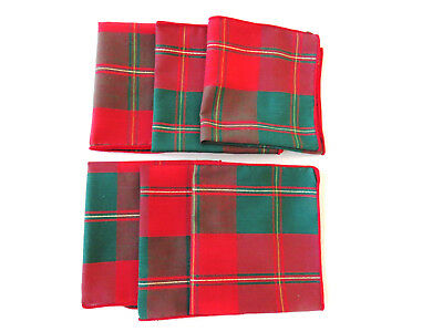 6 Tartan Plaid Christmas Holiday Cocktail Napkins Red Green Gold Barware Coaster
