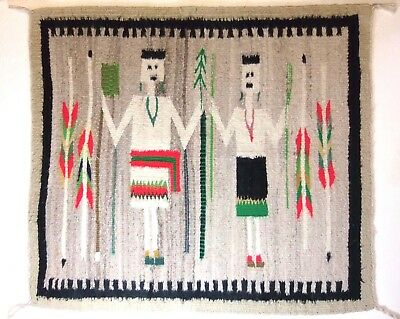 Navajo Indian Wedding Yei Single Saddle Blanket Rug Weaving w Germantown Yarn