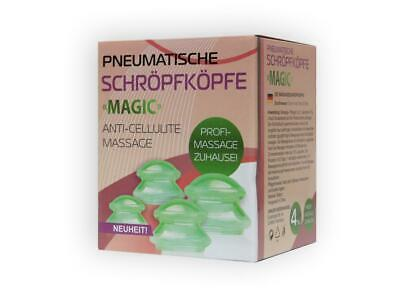 Schröpfen Set Magic 4 St. Anti-Cellulite Saugglocke Körper Vakuum Massage Cups