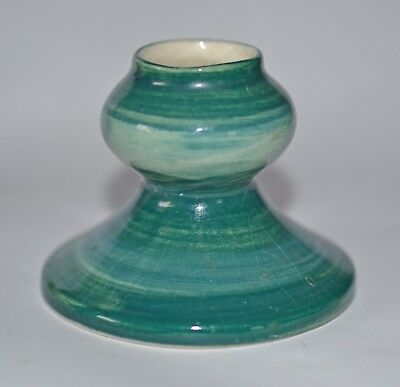 Small green Jersey Pottery ceramic candlestick holder