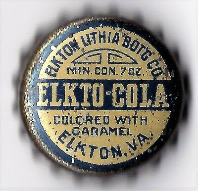 Elkton Lithia Bot'g Co. Elkto Cola Elkton, Va. Soda  Cork  Bottle Cap  7 Oz.