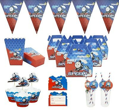 Thomas Kids Birthday Party Supply Flag Sweet Candy Popcorn Box Plate Cup Balloon